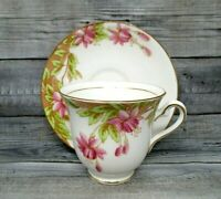 Teacup and Saucer Rosina Fine Bone China Made in England pink flowers