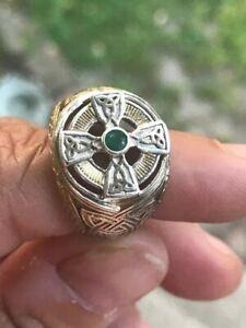 Sterling Silver 24k Emerald Isle Celtic Cross Ring Irish Franklin Mint Size 8