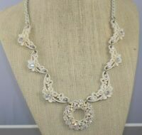 Vintage Off White Celluloid Rhinestone Wedding Cake Necklace Enamel Chain