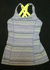 Lululemon women's gray/yellow striped print stretch sports bra top Sz 4 (XS)