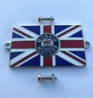 MORRIS Union Jack GB Brass Enamel Classic Car Badge - Bolt On