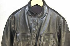 HARVY NICHOLS  MEN  HEAVY LEATHER  LONG FITTED TRENCH JACKET W BELT SIZE  L