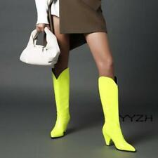 Fall Winter Women Pointed Shoes Synthetic Patent leather High Heel Mid Calf Boot