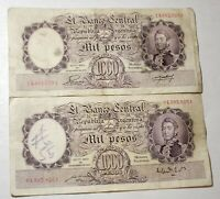 1935 Argentina 1000 Mil Pesos Banknotes Papermoney Lot of 2