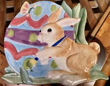 """Fitz And Floyd Canape Plate """"Painting Easter Eggs�"""