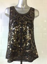 NEW SIZE 8 BLACK CHIFFON TOP GOLD BEAD SEQUIN PARTY COCKTAILS CHRISTMAS NEW YEAR