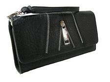 Jessica Simpson Logo Wallet Purse Hand Bag Black Zipper Accents Silver Astor NWT