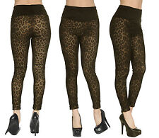 Sexy Women Lady High Waist Leopard Print Stretchy Fit Slim Leggings Pencil Pants