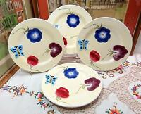 "4 PC THE CELLAR BY LAURIE GATES BUTTERFLY & FLOWERS 9 1/2"" DINNER PLATES 1998"