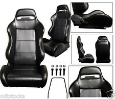 2 BLACK LEATHER + YELLOW STITCH RACING SEATS RECLINABLE + SLIDERS PONTIAC NEW *