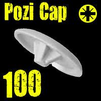 100 x WHITE PUSH IN POZI PLASTIC SCREW COVER CAPS FOR POZI 2 SCREWS - PZ2 *