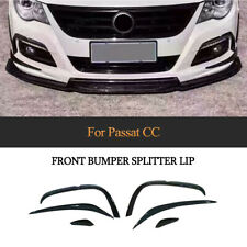 Front Bumper Canard Fin Lip Spoiler Splitters for VW CC Rline 09-12 Carbon Fiber
