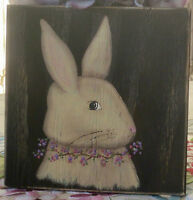 *~*PRIMITIVE*~* HP FOLK ART PRIM BUNNY *~* EASTER *~* SPRING *~* BOARD