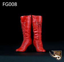 """1/6th Red Women's Middle Long Boots Shoe For 12"""" Phicen Ht Female Figure Fg008"""