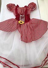 Girl's Dance wear Costume Peasant Rodeo E324 Size Large Red Velvet Art Stone