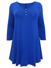 YOURS CURVY ROYAL BLUE BUTTON DETAIL SWING TUNIC/TOP - SIZES 18 20 22/24 26/28