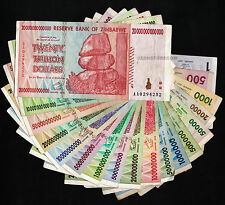 Set of 18 Zimbabwe Bank Notes - 100 Million, 50 Billion, 20 Trillion Dollars +++
