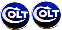 Factory Colt Grip Medallions/Cloisonne (Set of 2) in Blue and Silver