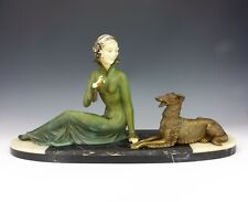 Vintage French Bronzed Spelter Lady & Borzoi Dog Figure - Art Deco!