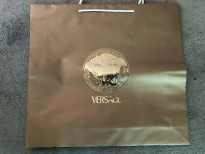 """VERSACE Paper Shopping Bag Gold With Gold Medusa Embossed  19.5 X 21""""  RARE5"""