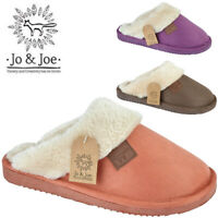 Ladies Winter Fur Collar Lined Faux Suede Slippers Slip on Mules Women Shoes UK