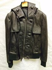 Muubaa WOMEN'S leather jacket con cappuccio in nero. RRP £ 249. UK 10.