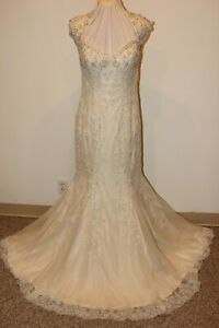 NWT Justin Alexander 8860 Sand Size 12 beaded long formal bridal gown, $1799