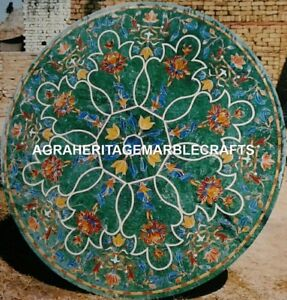 Green Marble Coffee Dining Table Top Handicraft Inlay Floral Hallway Decor H3118