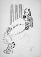 Dessin sensuel de femme nue A4 Erotique Akt Nu Original Drawing of Nude