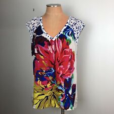 Anthropologie MAEVE Womens Silk Blouse Top Shirt Size 6 Navy Floral