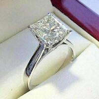 3.00ct Princess Cut VVS1 Diamond Solitaire Engagement Ring 14k White Gold Finish