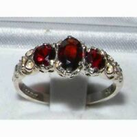 Ladies Solid 925 Sterling Silver Natural Garnet English Victorian Trilogy Ring