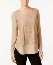 NY Collection Women's Scoop-Neck Long Sleeve Lace-Popover Blouse Color:Kelp XL