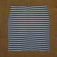 Women's ANN TAYLOR LOFT White/Blue Striped Skirt Size Small Spandex Blend