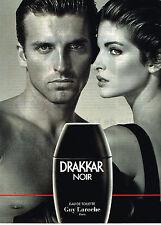 PUBLICITE ADVERTISING 074  1992  DRAKKAR NOIR  eau de toilette homme GUY LAROCHE