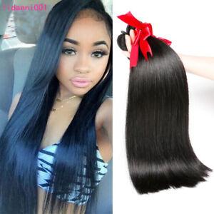 3 Bundles 100% Virgin Real Human Hair Straight Extensions Malaysian Hair Weave