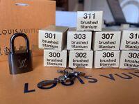LOUIS VUITTON SILVER LOCK KEY SET (2 KEYS) NEW PADLOCK ORIG BOX AUTH