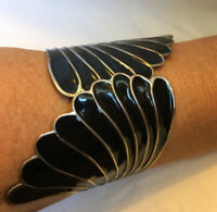 Vintage Black Enamel Silver Birds Wing Bracelet Tension Closure