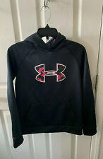 Girls Under Armour Storm1- Cold Gear Hoodie Pullover Black/Pink Girls Size L