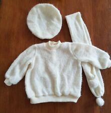 vintage baby jumper, hat and scarf set.