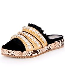 Kurt Geiger Melba Animal Print Ladies UK 8 EU 41 Beige & Black Slider Sandals