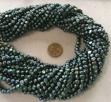 "TWO (2)16"" Strand 3x5mm Black w/ Blue/Green Luster Round/Flat FRESHWATER PEARLS"
