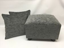 Footstool / Pouffe & 2 Cushion covers grey herringbone British made gift present