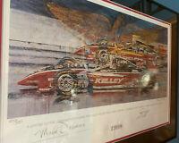 Scott Sharp Mark Dismore Ron Burton Autographed Framed Lithograph Indy 500