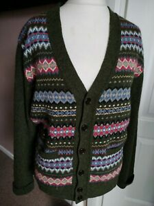 Men's Barbour Midon Fair Isle Cardigan Olive Green Size M 100% Lambswool Pockets