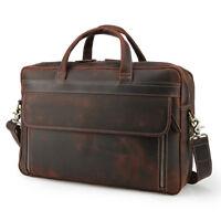 Vintage Men's Briefcase Real Leather Handbag 16'' Laptop Messenger Shoulder Bag
