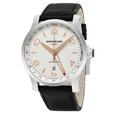 Mont Blanc Men's Timewalker Leather Strap Voyager UTC Automatic Watch 109136