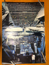 "1978 Airplane Boeing 747 Flight Deck Poster Scandecor 39 x 27"" Vintage Print"