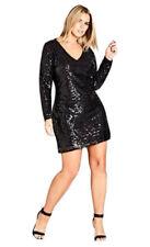 City Chic S Black Sequin Dress