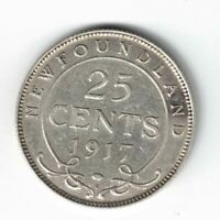 NEWFOUNDLAND 1917C 25 CENTS KING GEORGE V STERLING SILVER CANADIAN COIN